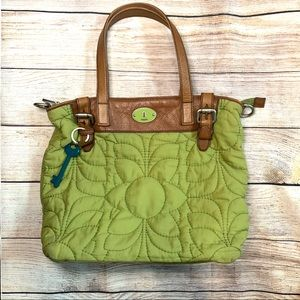 Fossil Key-Per Green Quilted Purse
